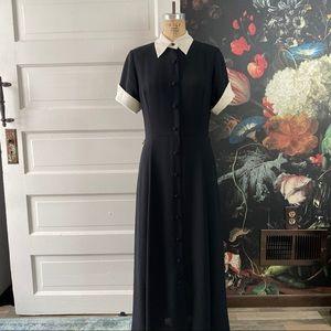 Vintage Black Button Down Maxi Dress